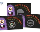 Halloween Scratch Off Game Cards - Spooky Monster Scratch & Win Game Party Favors