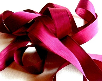Vintage 40's French Rayon Moire Ribbon 1 9/16 inch -Milliners Stock- Garnet