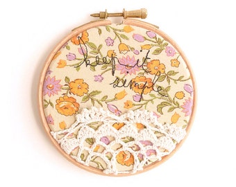 "Keep it Simple - Doily Embroidery Hoop - Textile Artwork in Yellow - 4"" Hoop"