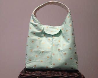 Lunch Bag Insulated - Mint With Golden Hearts