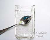 ON SALE Quilted Melted Mason Jar spoon rest, soap dish, butter dish made from a clear pint Ball jar, includes gift box