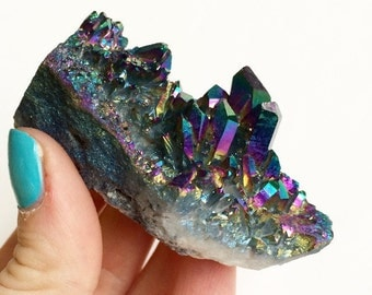 Titanium Quartz Crystal Cluster, Flame Quartz, Rainbow Quartz, Aura Crystal, Metaphysical Reiki New Age Gemstone, Mineral