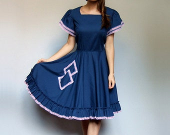 Vintage Rockabilly Dress 70s Halloween Dress Blue Prairie Dress Full Circle Skirt Dress Square Dance Dress - Large to Extra Large L XL