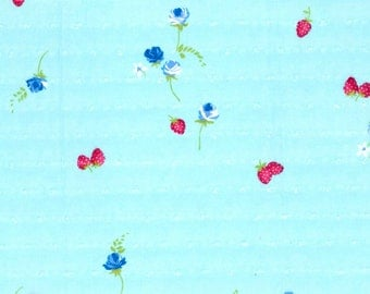 "Swiss Dot Aqua Fruit and Floral Cotton Fabric, Gertie by Gretchen Hirsch Fabric, 48"" wide, 1 yard"