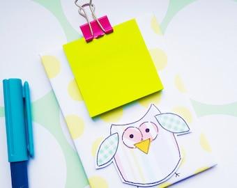 Owl Mini Clipboard - Owl Sticky Notes Holder - Magnetic - Notepad Holder - Fridge Magnet