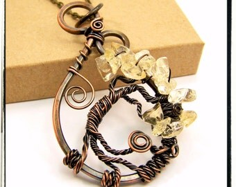 001 Copper Citrine Gemstone Tree of Life Pendant with Chain
