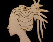 Lady Head with LOCS natural wood cutout 1824