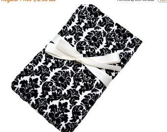 Sale - Reserved - Swaddling Blanket - Black Damask - X-Large - Ultra SOFT