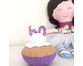 Keepsake Felt Birthday Cupcake. Handmade, featuring glitter candle. Birthday celebration, felt cake, any age. Cake lover