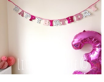 Handmade Birthday Garland in Pink, Glitter, Polka Dot. Happy Birthday Banner. Birthday decoration. Reusable and perfect for any celebration!