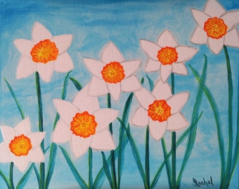 Original Painting, Daffodils, 16x20, spring flowers, floral, garden, free shipping