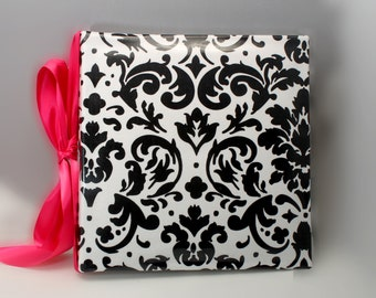Recipe Organizer-Laminated Black and  White Damask Recipe Album with Your choice of  Trim and Recipe cards