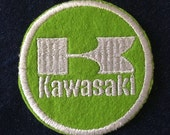 Vintage lime green and white Kawasaki patch