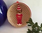Vintage German Papier Mache Elf Cat Christmas ornament