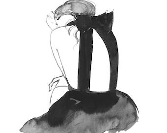 Black Bow, original watercolor