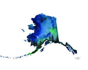Alaska, print from original watercolor illustration from Painting the 50 States Project by Jessica Durrant