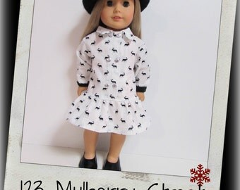 "18"" Doll Clothes ,AG Doll Clothes- Reindeer Dress, Holiday Dress, Doll dress fit 18"" dolls,123 Mulberry Street"