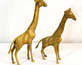 A Pair of Brass Giraffe Figurines 11.5 And 10 Inches Tall