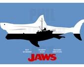 "Original ""Shark in the Water"" Minimalist Jaws 12"" x 18"" Giclée Art Print Poster"