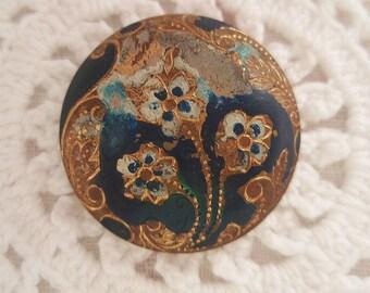 Antique Metal Button  Enamel Pansies Blue Gold Victorian Vintage