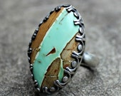 Variscite Sterling Silver Ring - Brown and Teal Stone Ring - Variscite Cabochon Ring - Fancy Bezel Gem Silver Ring -  Statement Ring - US 7