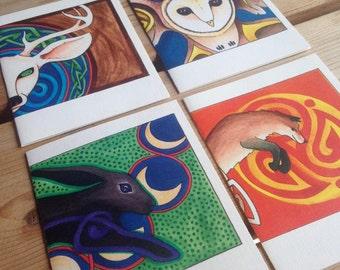 Wild Animals - set of 4 blank cards