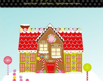 ON SALE Christmas clipart, chirstmas gingerbread clipart, gingerbread house clipart, digital clipart, instant download