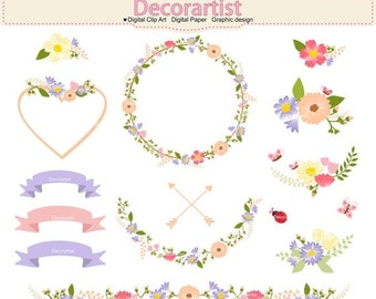 ON SALE Flowers cli art, Botanical clipart, floral wreath clip art>. country garden clipart, flowers wreath, butterfly, flowers frame