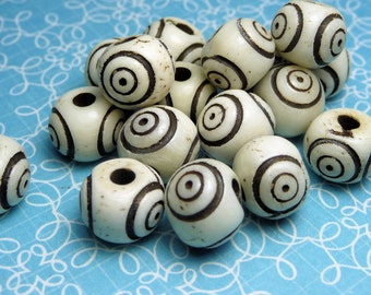 Round Carved Bone Beads 10mm - 20pc