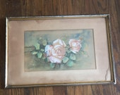 Antique painting of roses signed Lucile Simon 1941