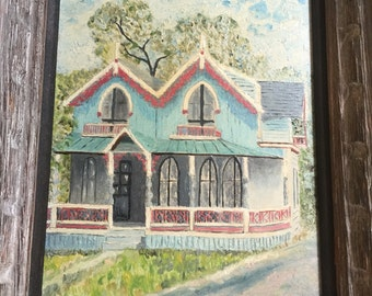 Vintage painting of gingerbread cottage
