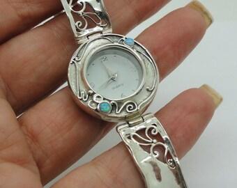 Israel Original Handmade Fine 925 sterling Silver opal Bracelet Watch (sw308)