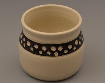Graphic Black and White Sgraffito Dot Ceramic Tumbler