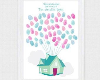 flying balloon house - printable file - fingerprint wedding guest book alternative - new home, diy personalised artwork, keepsake, poster