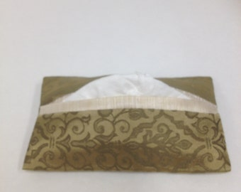 Pocket Tissue Cover, Travel Size, Sage Green, Cream