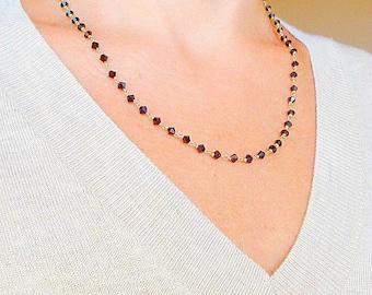 Swarovski Black Crystal handwired  Necklace