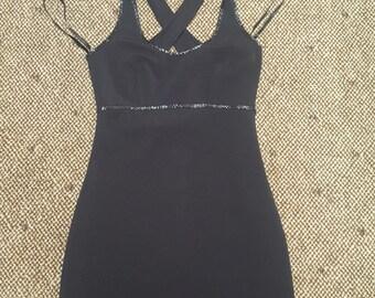 Black Love....vtg90'so Hugo Biscatti Body Con Cocktail Pin Up Pretty Woman Dress...sz 2
