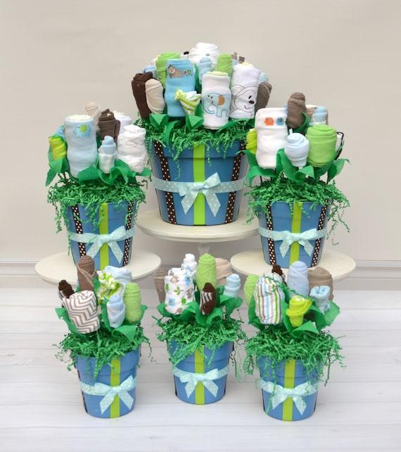 Baby Shower Centerpiece Package, Over 65 Layette Pieces, Table Centerpieces, Flower Arrangements, Custom Shower Decor, Party Package