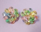 Stunning Vintage Multi Color Pastel Crystal Rivoli Earrings / Fashion Earrings / Crystal Earrings /Rivoli Earrings / Clip Earrings