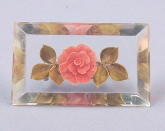 Reverse Carved LUCITE Rose Brooch / Reversed Carved Lucite Floral Brooch/Intaglio Lucite Floral Brooch / Intaglio Rose Brooch