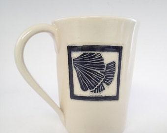 Handmade ceramic coffee mug - sgraffito carved ginkgo leaves - stoneware mug - tea cup - sgraffito mug - pottery mug - black and white mug
