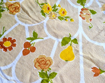 Vintage Terrycloth Tablecloth - 1970s Tan and Yellow Fruit and Flowers - NOS 66 Round