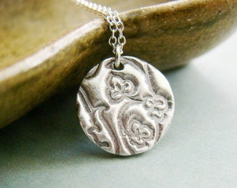 Fine silver botanical leaves petite round necklace, pmc, oxidized, nature, plants, vines
