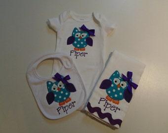 Baby Girls Owl Bib, Burp Cloth and Onesie Set, Monogram