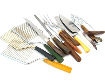 Vintage Kitchen Utensil Lot • Plastic Bakelite Handles • Cake Breaker, Serving Forks, Knife Sharpener • 13 Pieces • Retro Decor