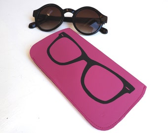 Pink Leather Sunglasses Case, Glasses Case, Leather Sunglass Case, Leather Case, Cool Sunglasses Case, Pink Sunglasses, Glasses print, Sun