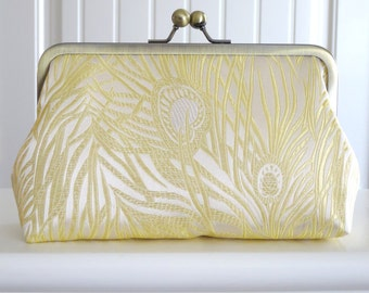 Iridescent Peacock Clutch in Ivory Brocade,Bridal Accessories,Bride Clutch,Bridesmaid Clutch,Holiday Clutch