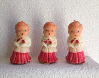 retro christmas candles choir boys vintage gurley