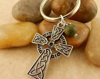 Celtic Cross Keychain, key tag with 8mm Irish Connemara Marble Bead