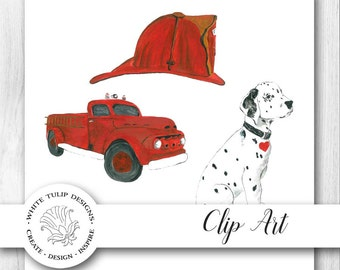 Watercolor Clipart - Classic Fireman, Instant Download, Handpainted, Detailed Artwork